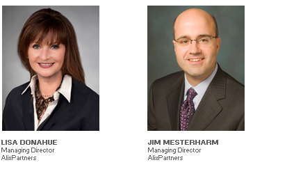 Photos of Lisa Donahue and Jim Mesterharm, Managing Directors, AlixPartners