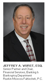 Photo of Attorney Jeffrey A. Wurst, Senior Partner and Chair - Financial Services, Banking & Bankruptcy Department - Ruskin Moscou Faltischek, P.C.